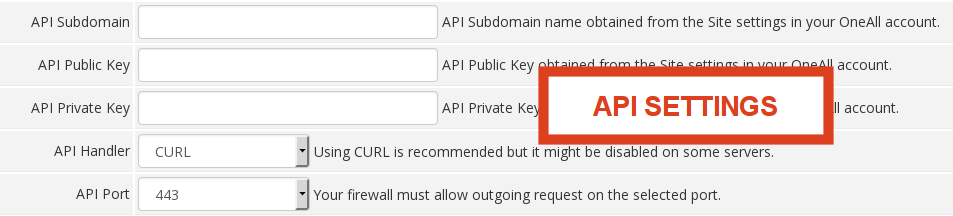 WHMCS Social Login API Settings